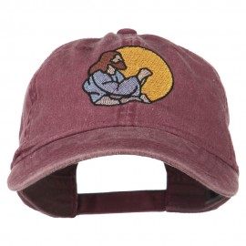 Jesus Praying Embroidered Washed Cap - Maroon
