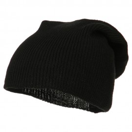 Plain Deep Shell Knit Beanie - Black