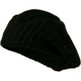 Plain Knit Beret - Black