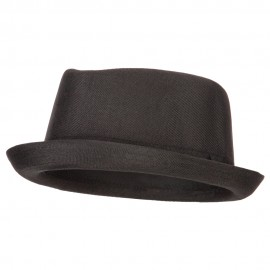 Pork Pie Polyester Fedora Hat with Band - Black