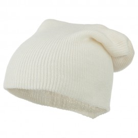 Plain Deep Shell Knit Beanie - White