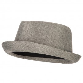 Pork Pie Polyester Fedora Hat with Band - Grey