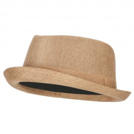 Pork Pie Polyester Fedora Hat with Band - Natural