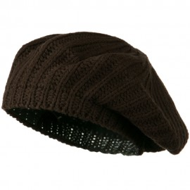Plain Knit Beret - Brown