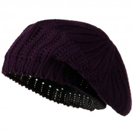 Plain Knit Beret - Purple