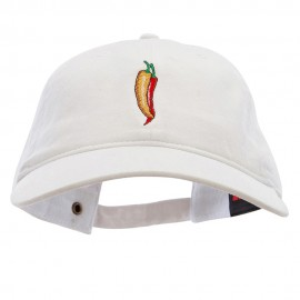 Red Orange Pepper Embroidered Washed Solid Pigment Dyed Cotton Twill Brass Buckle Cap