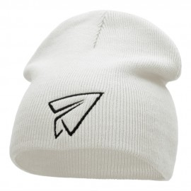 Paper Plane Outline Embroidered Short Knitted Beanie