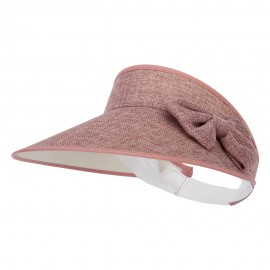 Women's Polyester Bow Accented Large Hard Brim Gardening Sun Visor