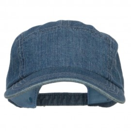 5 Panel Washed Denim Cap - Blue