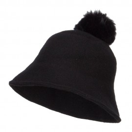 Pom Pom Wool Bucket Hat - Black