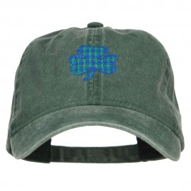Plaid Shamrock Embroidered Washed Cap
