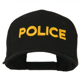 Police Letter Embroidered High Profile Cap - Black