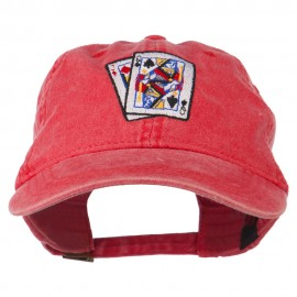 Gaming Pinochle Embroidered Washed Cap - Red