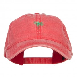 Palm Tree Embroidered Washed Cap - Red