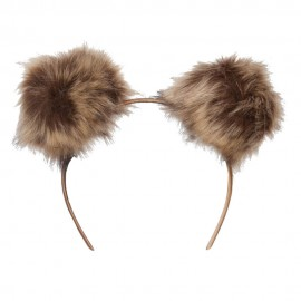 Pom Poms Accented Headband - Natural