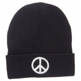 Peace Symbol Embroidered Long Beanie