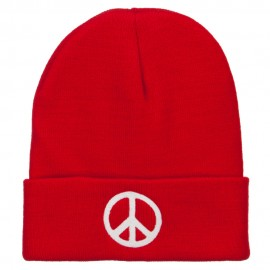 Peace Symbol Embroidered Long Beanie - Red