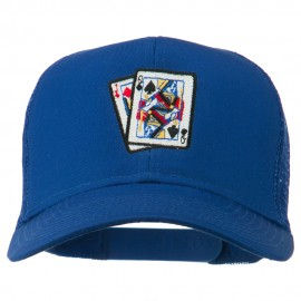 Gaming Pinochle Embroidered Mesh Cap - Royal