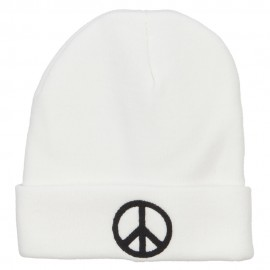 Peace Symbol Embroidered Long Beanie - White