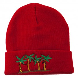 Palm Trees Christmas Lights Embroidered Beanie - Red