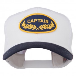 Captain Oak Leaf Military Patched Prostyle Cap - Navy White