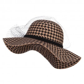 Houndstooth Wool Felt Hat with Net