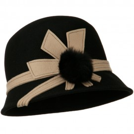 Pom Pom Cloche Wool Felt Hat