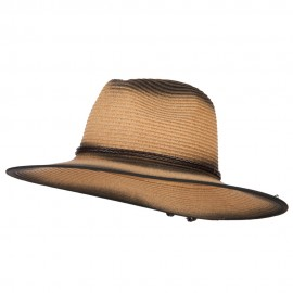 Painted Panama Paper Straw Fedora Hat - Dk Natural