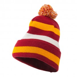 Pom Pom Cuff Stripe Long Beanie - Berry