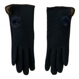 Woman's Faux Fur Lined Pompom Accent Glove