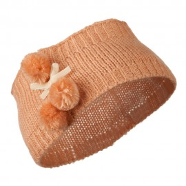 Knit Headband with 3 Pom Pom - Peach