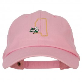 Mississippi Magnolia with Map Embroidered Unstructured Washed Cap