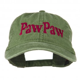 Wording of PawPaw Embroidered Washed Cap - Olive Green