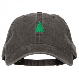 Pine Tree Embroidered Washed Buckle Cap