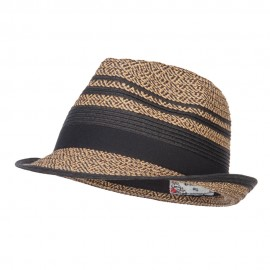 Striped Tweed Paper Braid Fedora