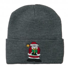 Santa Claus holding a Present Embroidered Beanie