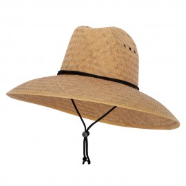 Palm Straw Braid Lifeguard Double Hump Crown Large Brim Sun Hat - Natural