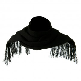 Super Stretch Fringed Scarf - Black