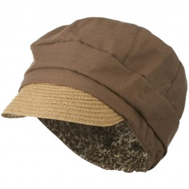 Women's Paper Straw Brim Crushable Cabbie Hat