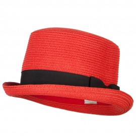 Paper Straw Fedora Top Hat - Red