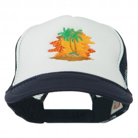 Palm Trees with Sunset Embroidered Foam Front Mesh Back Cap