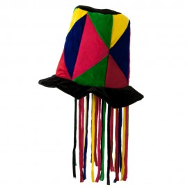 Patchwork Top Hat with Cord - Black Multi Color