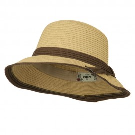Paper Straw Trimmed Bucket Hat - Tan
