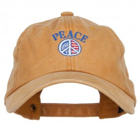 Peace with USA Flag Embroidered Unstructured Cap