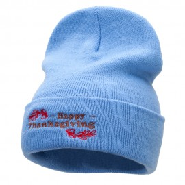 Happy Thanksgiving Embroidered Knitted Long Beanie
