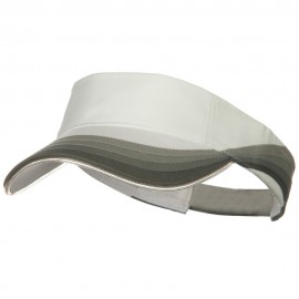 3 Panel Wave Cotton Piping Visor - White