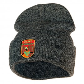 Happy Kwanzaa Badge Embroidered Knitted Long Beanie