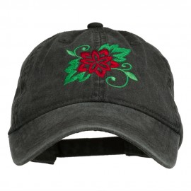 Christmas Poinsettia Flower Embroidered Washed Dyed Cap - Black