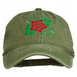 Christmas Poinsettia Flower Embroidered Washed Dyed Cap