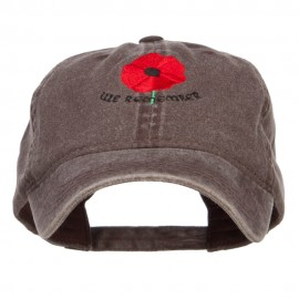 Poppy Flower We Remember Embroidered Cap